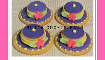 Sugar cookie decorated as fancy hats
