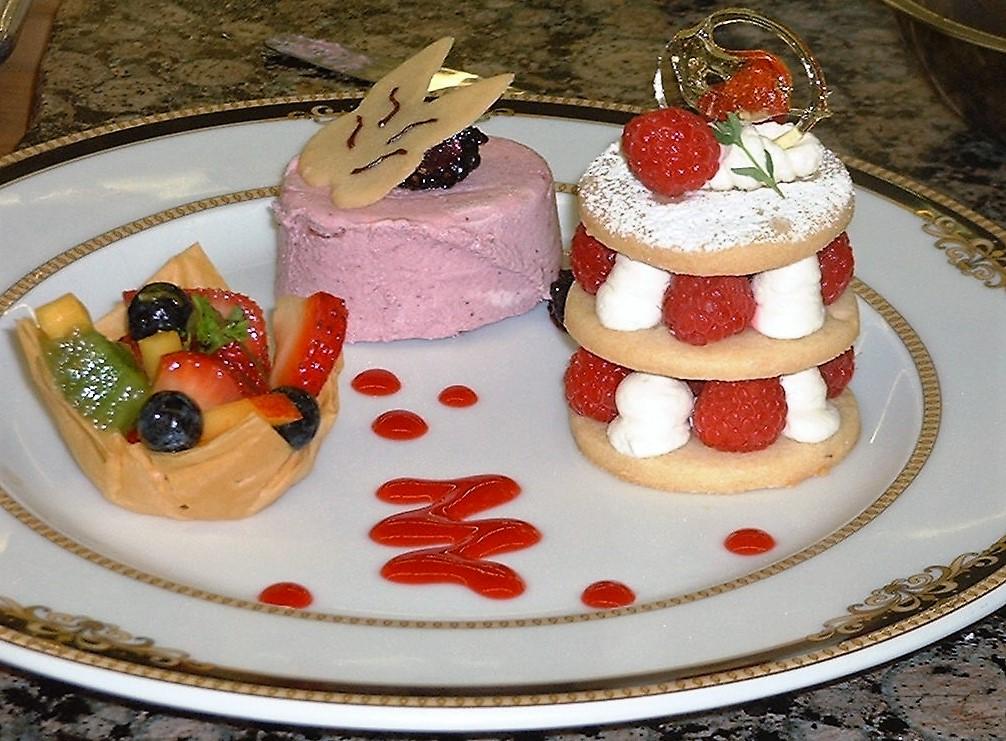 Trio of dessert trio with summer fruits