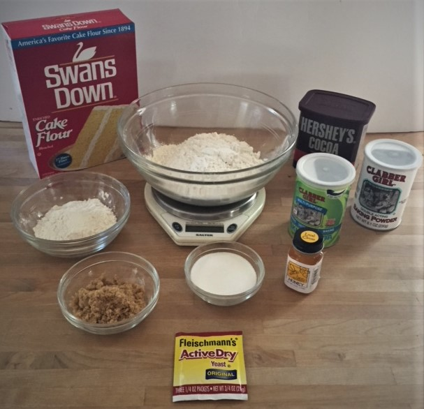Kitchen scale with common baking ingredients
