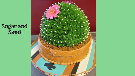 Cactus cake decorated with southwestern flare