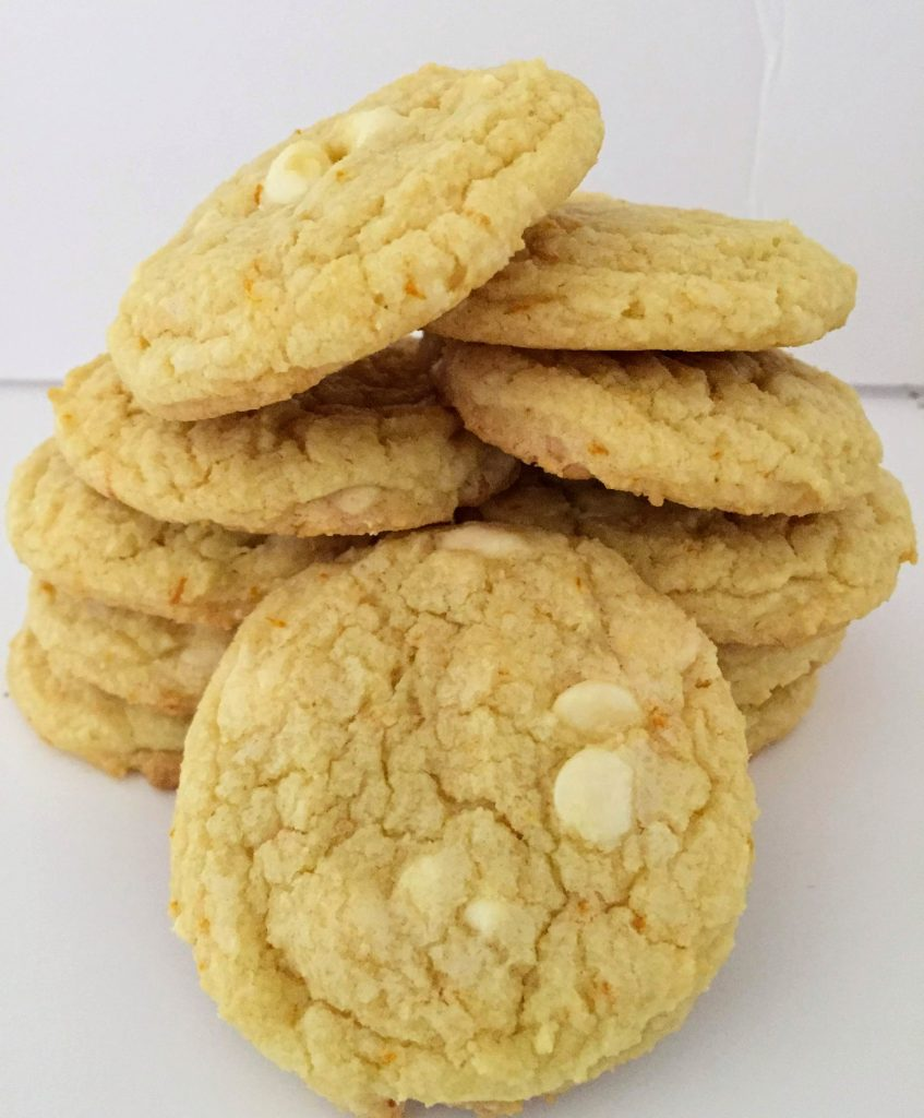 orange cookies with white chocolate chips