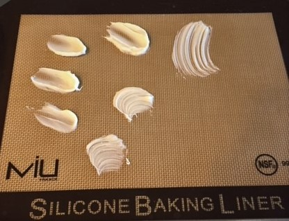 White chocolate decorations on a silpat
