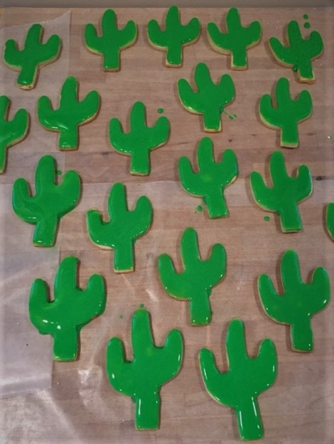 cactus cookies with icing