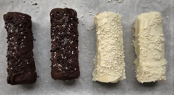 chocolate dipped Swiss cake rolls