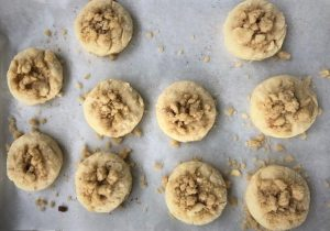 Biscuit crumbets before baking