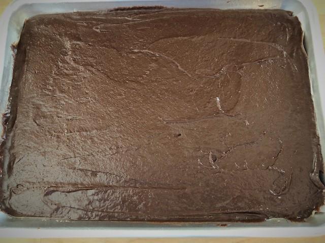 Brownie batter in a sheet pan