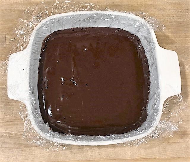baking dish with chocolate ganache