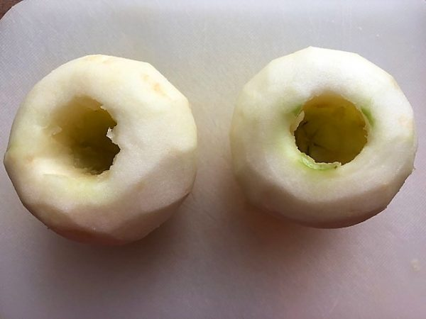 peeled and cored apples