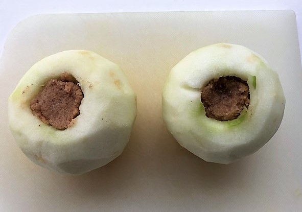 cored apples filled with sugar paste