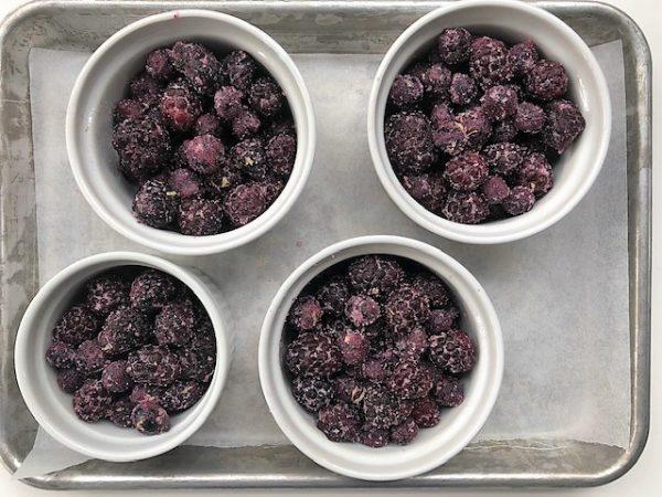 individual berry pandowdy dessert in ramekins