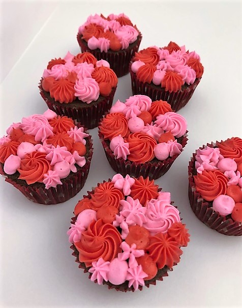 PInk and Red iced chocolate cupcakes