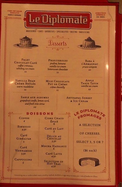 LeDiplomate dessert menu