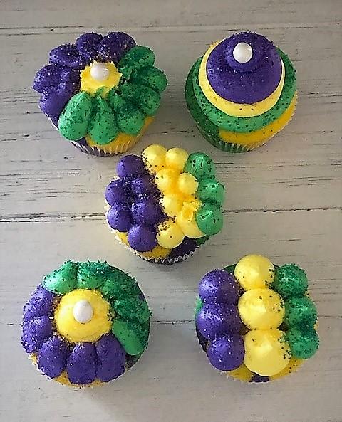 mardi gras cupcakes with sprinkles