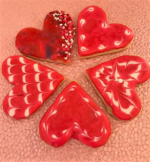 valentine heart decorated cookies