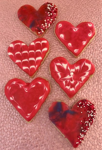 red heart decorated sugar cookies