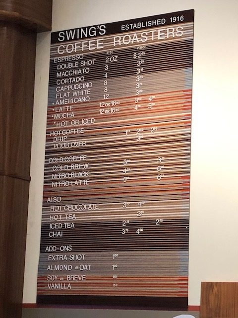 Swings coffee roaster menu