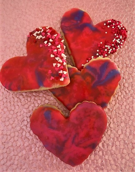 tie dye heart decorated cookies