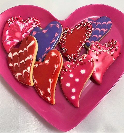 whimsical heart decorated cookies
