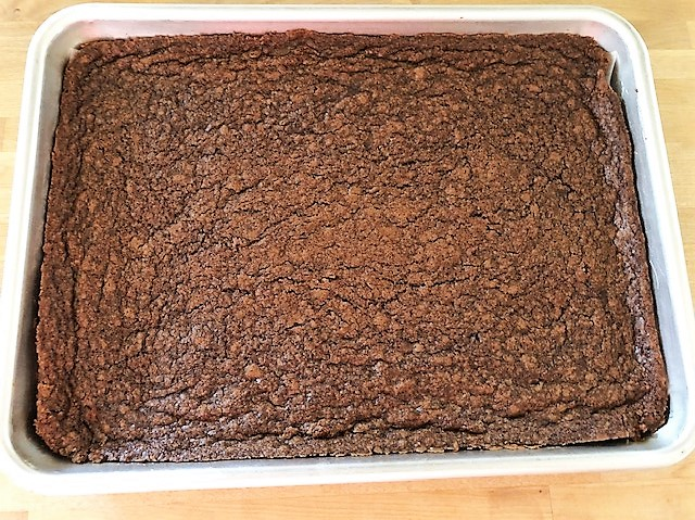 brownie batter baked and cooled and removed from pan