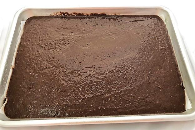 brownie batter in sheet pan