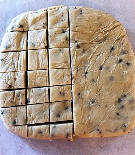 cookie dough cut into squares