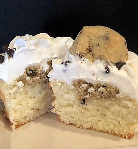 cookie dough cupcake sliced in half