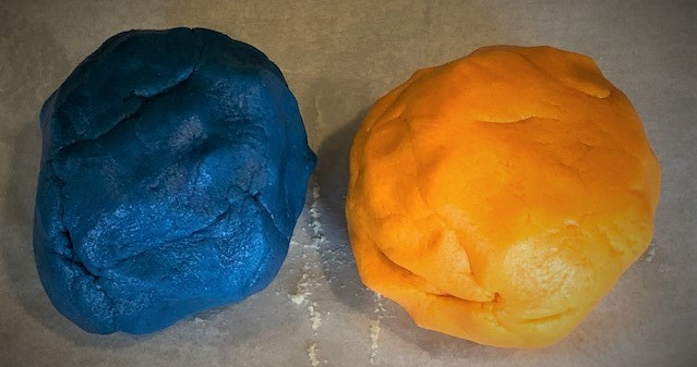 orange and blue sugar cookie dough