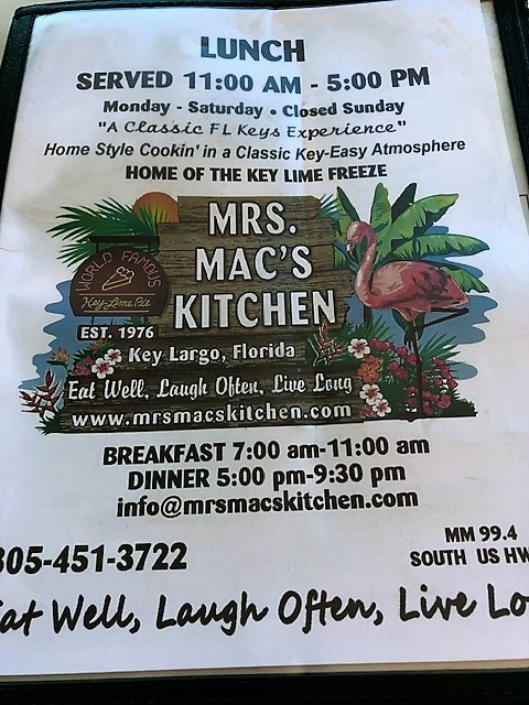 mrs mac lunch menu