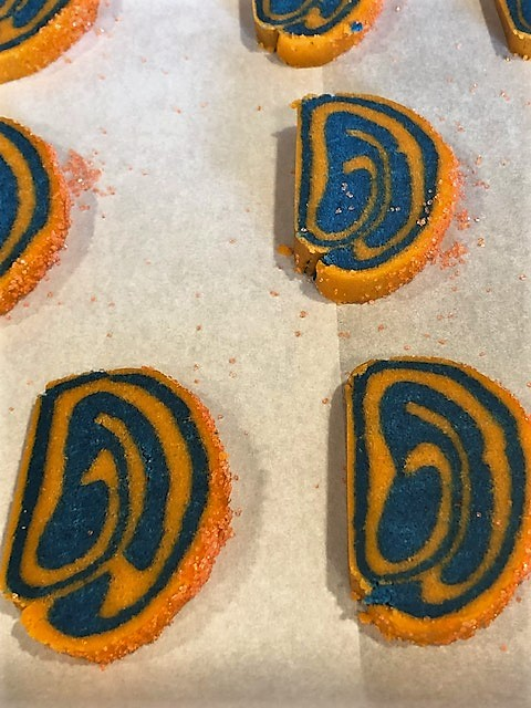 orange and blue spiral cookies