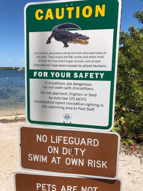alligator sign posted at state park