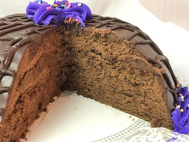 inside of the sliced triple chocolate bomb