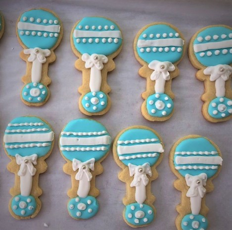 baby rattle cookies decorated
