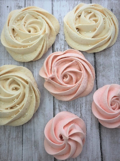 plain and pink rose merginue cookies