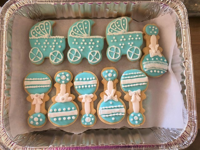 baby boy sugar cookies ready to freeze