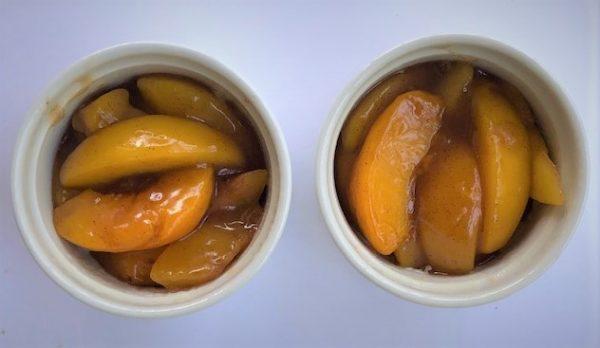 peach cobbler in ramekins