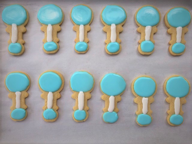 baby rattle decorated cookies