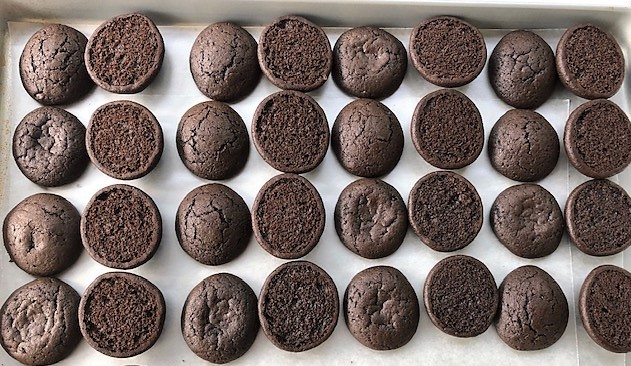 chocolate whoopie pies cookies baked and unfilled