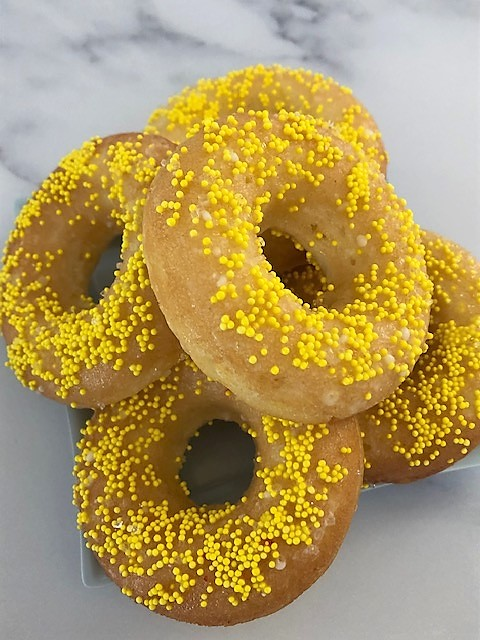 lemon donuts with yellow sprinkles