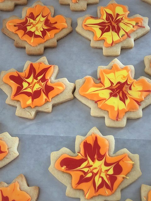 triple colored fall cookies on baking sheet