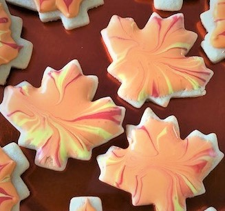 splash decorated fall cookies