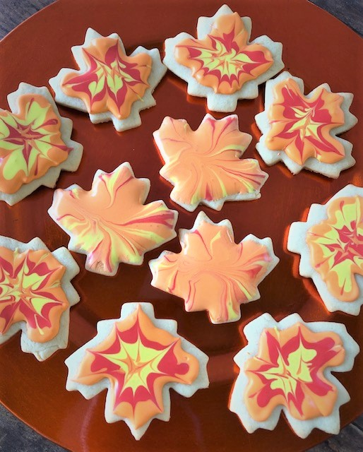 fall leaf cookie cutouts decorated