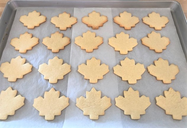 fall leaf sugar cookie cutouts baked