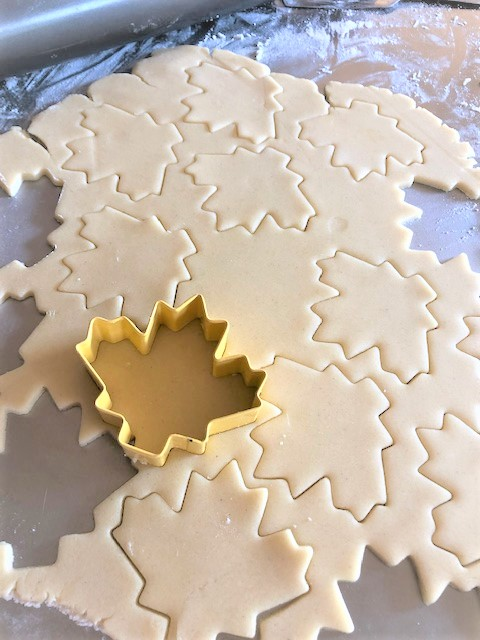 fall leaf cookie cut out dough
