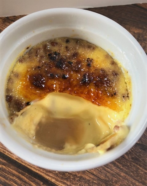 pecan pie creme brulee in custard cup
