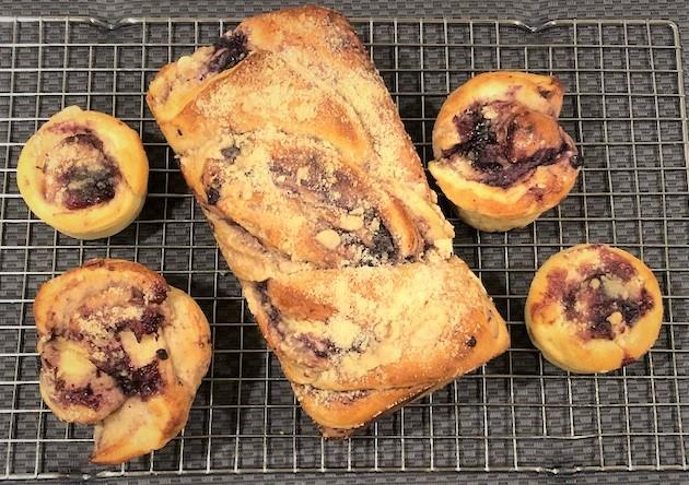 blueberry babka loaf and muffins