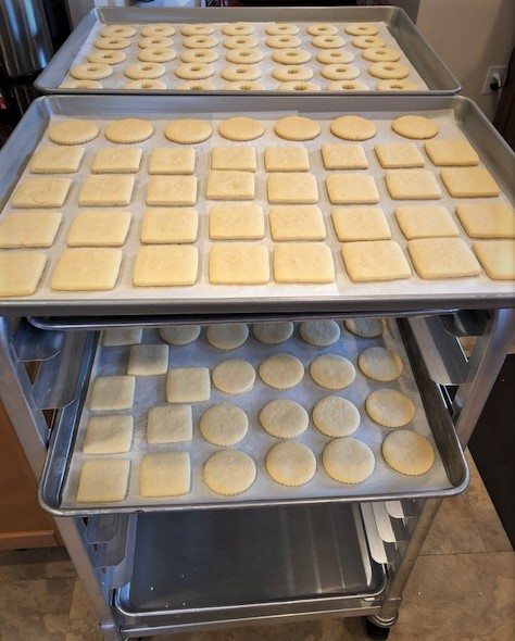 baked square and round cookies