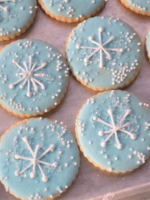 light blue snowflake cookies