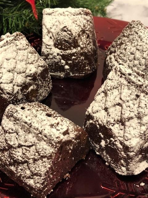 cake village with powdered sugar