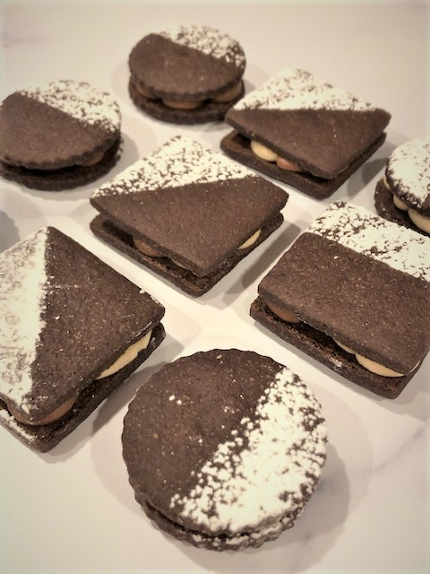 round and square chocolate sandwich cookies