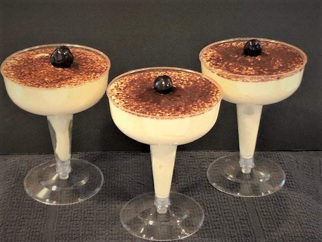 Tiramisu served in martini glasses